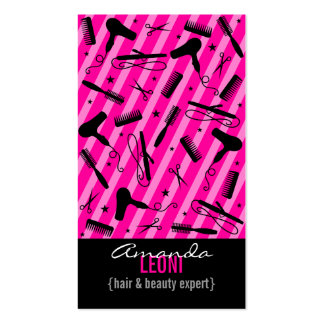 Hot Pink Black Salon Tools Vertical Business Cards