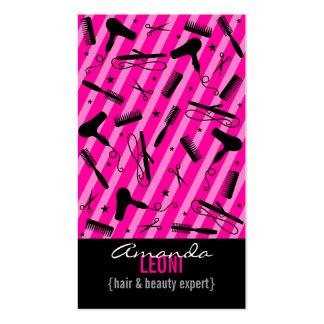 Hot Pink Black Salon Tools Vertical Business Cards