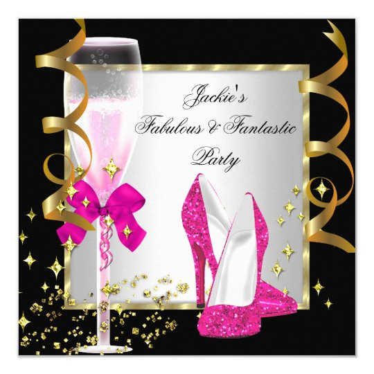 Hot Pink Black Silver Women's Birthday Party Card