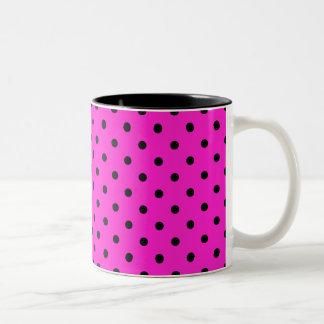Hot Pink Black Spot Polka Dot Pattern Coffee Mugs