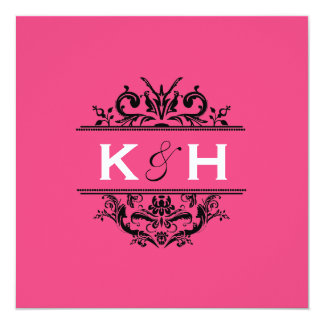 Hot Pink & Black Square Crest Invite
