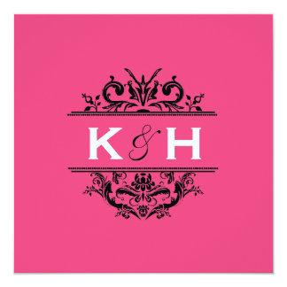 Hot Pink & Black Square Crest Invite