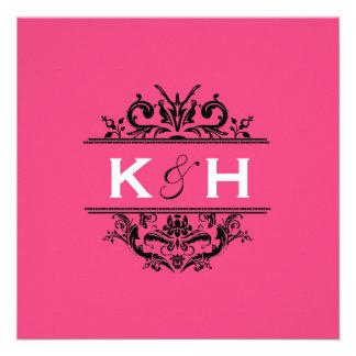 Hot Pink Black Square Crest Invite