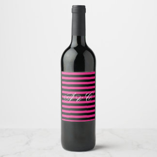 Hot Pink & Black Stripes Custom Wine Label
