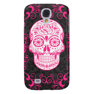 Hot Pink Black Sugar Skull Roses Gothic Grunge Galaxy S4 Case