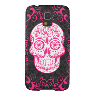 Hot Pink Black Sugar Skull Roses Gothic Grunge Galaxy S5 Case
