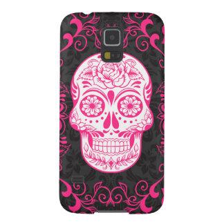 Hot Pink Black Sugar Skull Roses Gothic Grunge Galaxy S5 Case