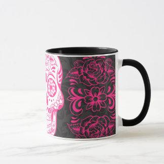 Hot Pink Black Sugar Skull Roses Gothic Grunge Mug