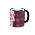 Hot Pink Black Sugar Skull Roses Gothic Grunge Ringer Mug