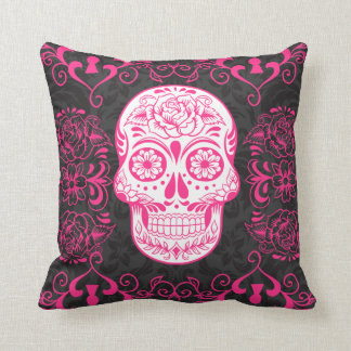 Hot Pink Black Sugar Skull Roses Gothic Pillow