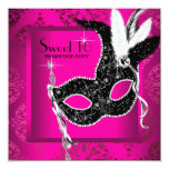Hot Pink Black Sweet 16 Masquerade Party Personalized Invitation