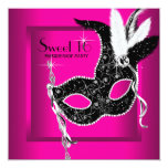 Hot Pink Black Sweet 16 Masquerade Party Invitations