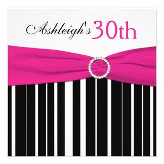 Hot Pink Black White 30th Birthday Invitation