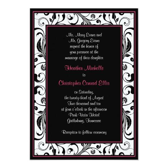 Hot Pink, Black, & White Floral Wedding Invitation