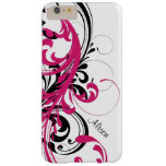 Hot Pink Black White Funky Wavy Scroll Floral