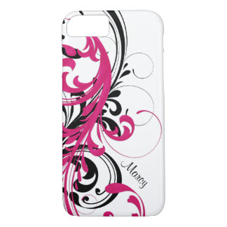 Hot Pink Black White Funky Wavy Scroll Floral iPhone 8/7 Case