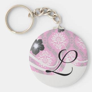 hot pink black white ornate damask basic round button key ring