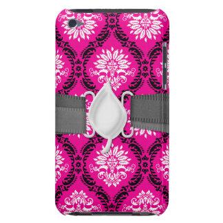 hot pink black white ornate damask iPod Case-Mate case