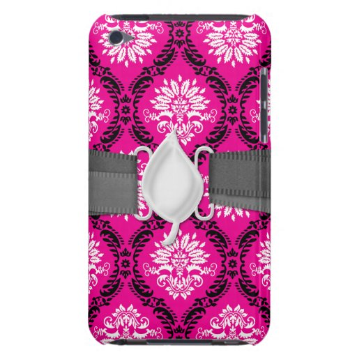 hot pink black white ornate damask barely there iPod cases