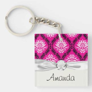 hot pink black white ornate damask Double-Sided square acrylic key ring