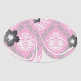 hot pink black white ornate damask oval sticker