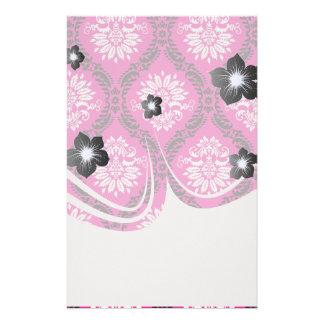 hot pink black white ornate damask personalised stationery
