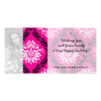 hot pink black white ornate damask photo card template