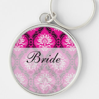 hot pink black white ornate damask Silver-Colored round key ring