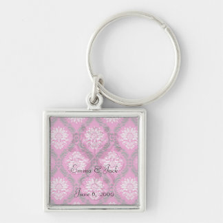 hot pink black white ornate damask Silver-Colored square key ring