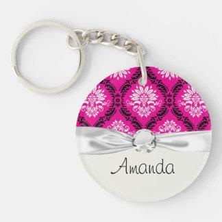 hot pink black white ornate damask Single-Sided round acrylic key ring