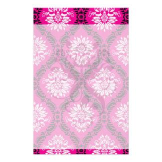 hot pink black white ornate damask stationery design