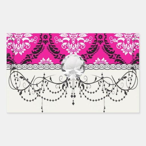hot pink black white ornate damask rectangular sticker