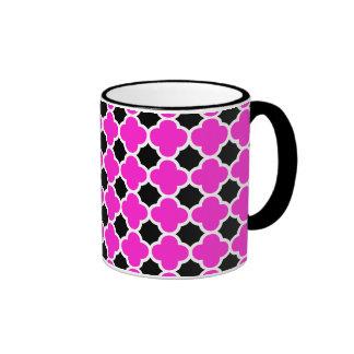 Hot Pink Black White Quatrefoil Pattern Coffee Mugs