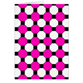 Hot Pink Black White Squares Hexagons Pattern Greeting Card