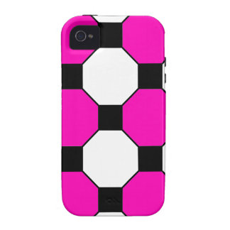 Hot Pink Black White Squares Hexagons Pattern iPhone 4/4S Cover