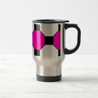 Hot Pink Black White Squares Hexagons Pattern Mug