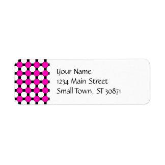 Hot Pink Black White Squares Hexagons Pattern Return Address Label