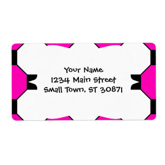 Hot Pink Black White Squares Hexagons Pattern Shipping Label