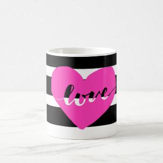 Hot Pink Black & White Striped Love Coffee Mug