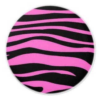 Hot Pink Black Zebra Animal Print Pattern Ceramic Knob