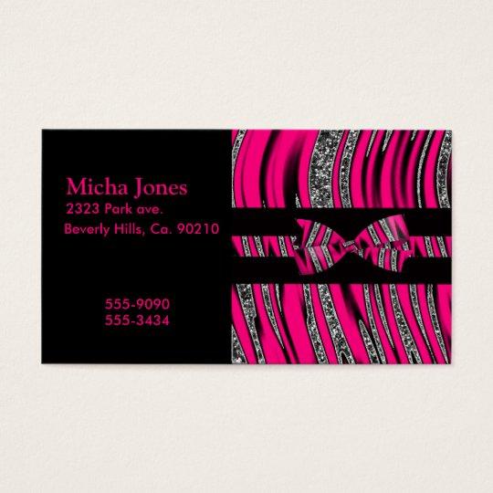 Hot Pink & Black Zebra Glitter Stripes Business