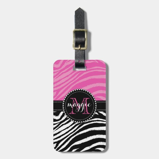 Hot Pink & Black Zebra Print Monogram girly2