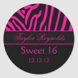 Hot Pink Black Zebra Sweet 16 Sticker