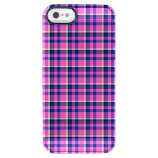 Hot Pink Blue and Purple Checked Design Clear iPhone SE/5/5s Case