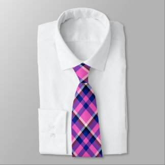 Hot Pink Blue and Purple Checked Tie