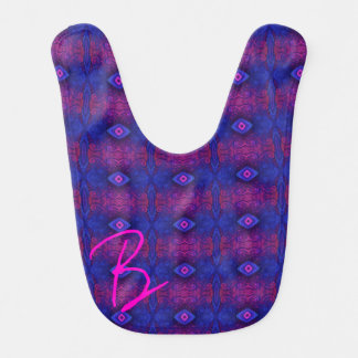 Hot Pink Blue Diamond Stripes Bibs