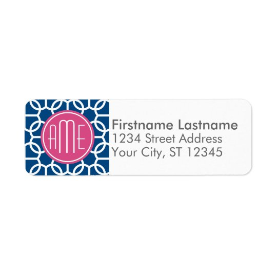 Hot Pink & Blue Geometric Pattern Monograms
