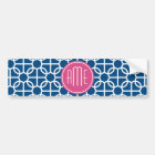 Hot Pink & Blue Geometric Pattern Monograms Bumper Sticker