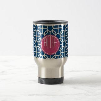 Hot Pink & Blue Geometric Pattern Monograms Stainless Steel Travel Mug