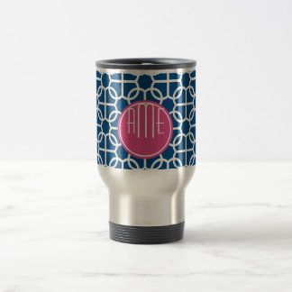 Hot Pink & Blue Geometric Pattern Monograms Travel Mug
